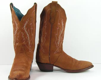 vintage cowboy boots women's 7.5 M B brown leather suede nocona turquoise liner genuine leather cowgirl