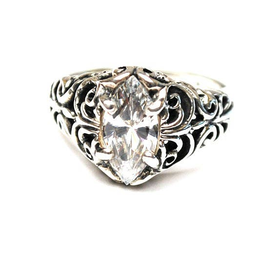 Sterling Filigree CZ ring  Signed Kabana  Cubic Zirconia  Size 7 ring  silver ornate setting