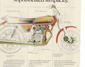 1976 Advertisement Yamaha XS360 Motorcycle Drawing Diagram Red Yellow 76 Motorbike 70s Motorcycle Wall Art Decor