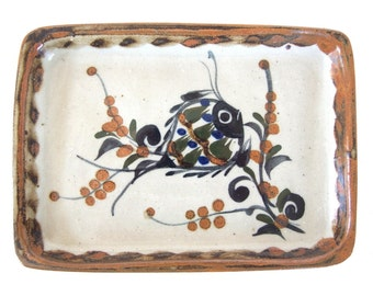 Vintage Sushi Plate, Hand Painted Fish Tray, Signed