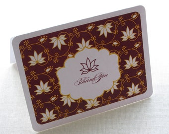 Lotus Floral Indian Thank You Card - Elegant Personalized Note Card Gift Set of 10