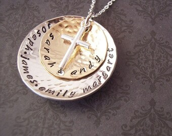 HandStamped Jewelry Personalized Necklace - EXCLUSIVE GOd's Blessings Brass and Sterling discs with Sterling Cross charm