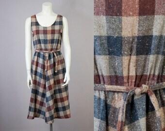 70s Vintage Sleeveless Plaid Belted Midi Dress (M)