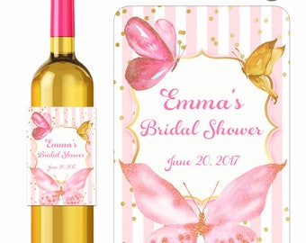 Custom Wedding Wine Labels Bridal Shower Butterflies in Gold Pink Watercolor Style Confetti Stripes Personalized Vinyl Waterproof Stickers