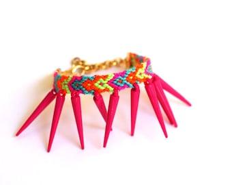 Hot Pink Spikes Friendship Bracelet.