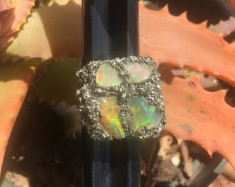Raw Ethiopian Opal and Pyrite Ring