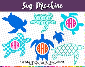 Turtles svg - monogram Turtle svg - turtle svg - turtle monogram svg- SVG,DXF, EPS. svg cut files for Silhouette Studio and Cricut