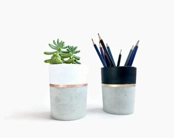 Concrete pencil holder Planter for succulent gray beton white black industrial home Decor
