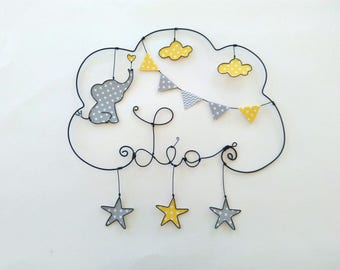 """Personalized name in wire """"a love of elephant in a rain of stars"""" baby room decoration"""
