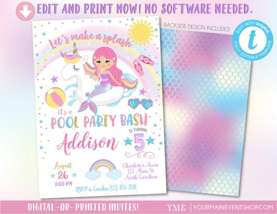 Unicorn Mermaid Pool Party Invitation, Pool Party Birthday, Unicorn Mermaid Birthday Party Invitation, Pool Party Invite
