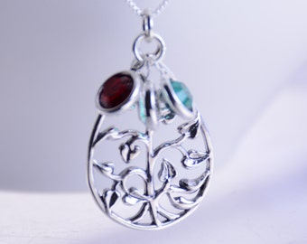 Family tree of life necklace, Sterling silver family tree jewelry