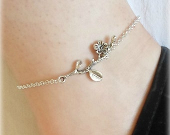 Flower Branch Anklet - Silver Plated, Extendible