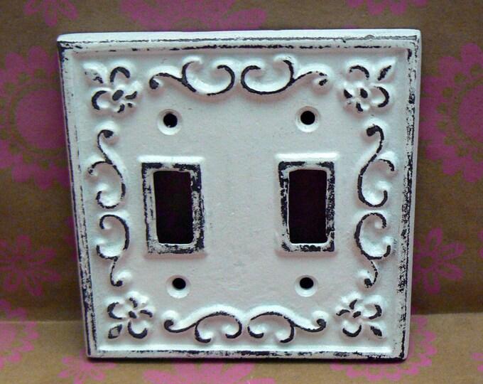 Fleur de lis Cast Iron FDL Light Switch Double Cover Shabby Chic White Home Decor