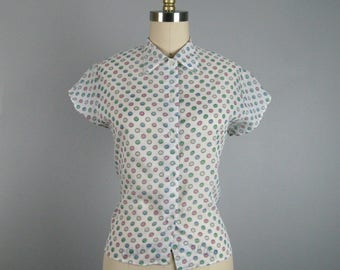 Vintage 1950s Sheer Blouse 50s White Printed Nylon Blouse Size M