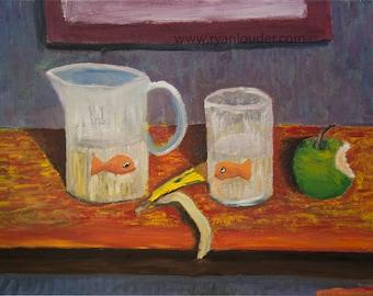 Goldfish art, Goldfish painting, Goldfish picture, Goldfish wall art, fish painting, fish picture, fish art, fish decor,