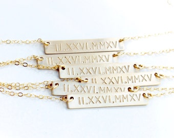 Roman Numeral Necklace, Wedding Gift, Date Necklace Gift for Wife, Gold Bar Necklace Gold Necklace, Personalized Necklace, Meaningful Gift