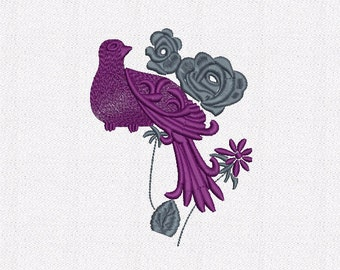 Part 2 of Vintage Frame with Bird Machine Embroidery Design Digital INSTANT DOWNLOAD