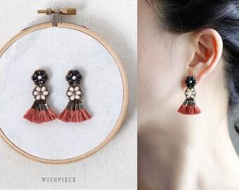 FRINGE EARRINGS / unique tassel jewelry / statement stud earrings / wishpiece