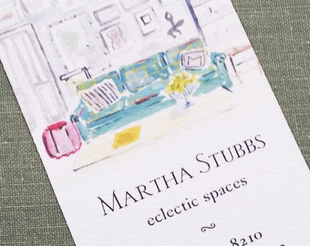 Interior Designer,Interior Decorator,Architect,Home Stager Watercolor Business Card, Set of 50