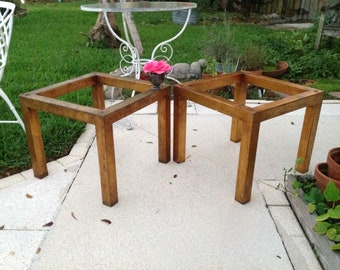 """METAL SIDE TABLES / Pair of Gold Metal Side Tables with Patina 20"""" x 20"""" / Gold Gilt Metal Tables /Mid Century Modern Retro Daisy Girl"""