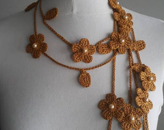 Crochet Necklace,Crochet Neck Accessory, Flower Necklace,Spicy Mustard Colour,Dark Yellow, 100% Cotton.
