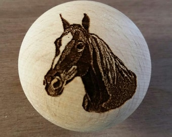 Farm and Ranch Decor Laser Engraved Horse Wooden Knob