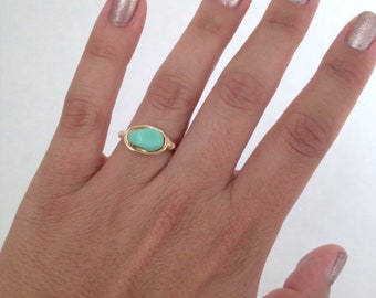 Mint Ring Gold Ring Silver Ring Wire Wrapped Ring Unique Ring Custom Ring Green Ring Wire Wrapping Dainty Ring Jewelry Gold Plated Gift