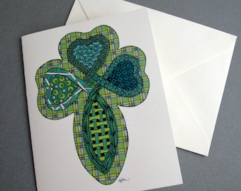 Celtic Shamrock Stationery Set - Set of 8 Blank Inside Card Set - Irish Cross