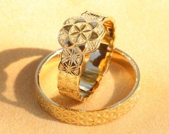 Flower of Life Wedding Ring Set, Gold Wedding Ring Set, Wedding Rings His and Hers, Flower of Life Wedding, Gold Wedding Rings,Wedding Bands