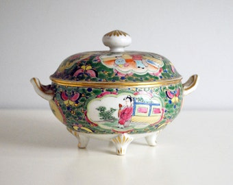 Chinese Porcelain Bowl, Antique Covered Dish, Chinoiserie, Rose Medallion, Footed Bowl, Signed Hand Painted Ceramic, Asian Decor