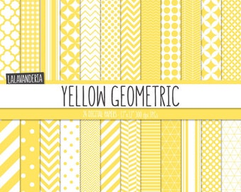 Geometric Digital Paper Package - Yellow Backgrounds. Printable Papers Set - Yellow Geometric Patterns. Digital Scrapbook. Instant Download