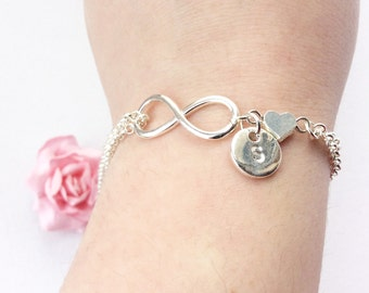 Silver Personalized Infinity Bracelet, Infinity Jewelry, Friendship Bracelet, silver Infinity,Personalized Bracelet,valentines gift