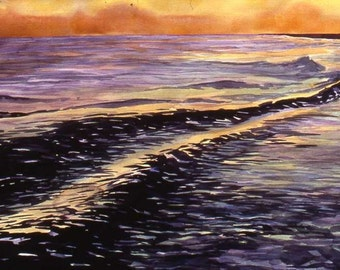 Original watercolor, Gulf Sunset, 22 x 32