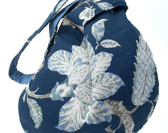 Blue Slouchy bag, Japanese Knot bag, Knot bag, Slouchy bag, Fabric bag, Hobo bag, Slouch bag, Shoulder bag, Gift for her, Eco friendly