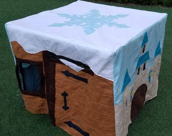 Frozen Card Table Playhouse, Indoor Playhouse, Indoor Play fort, Felt Fort Play house, Sven, Olaf, Anna, Elsa, Frozen Fever