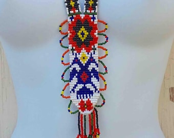 Vintage Seventies Multi Colored Large Flat Beaded Long Necklace / Native American Style Tribal Southwestern / Hand Made