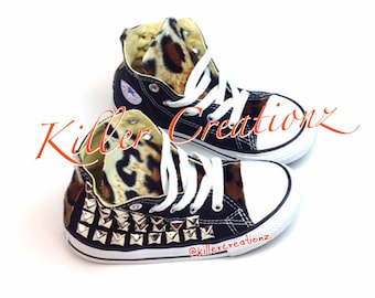 Custom Converse, studded with leopard- Toddler sizes, made to order