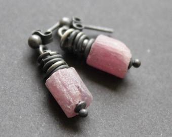 oxidised silver ruby earrings * earrings * modern jewelry