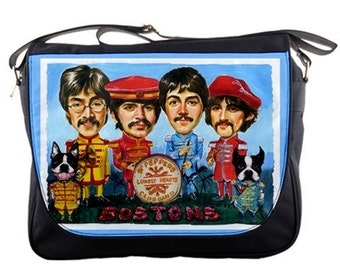 Boston Terrier Sgt Peppers Lonely Hearts Club Band Messenger Bag