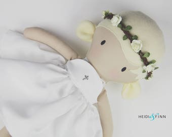 """NEW XL Pals soft rag doll keepsake gift OOAK ready to ship spring first communtion flower girl baptism  18"""" cloth doll"""