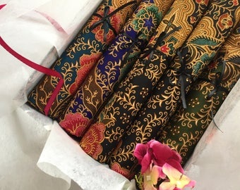 Set of 5 - Elegant and Authentic Malaysian Hand Painted Batik
