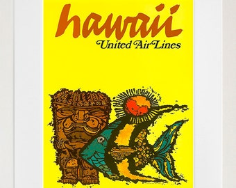 Hawaii Retro Poster Hawaiian Decor Art Travel Poster Wall Art Print (ZT630)