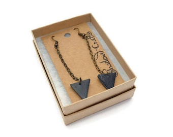 Long leather triangle drop earrings, geometric leather earrings, long leather earrings, tringle jewellery, black earrings