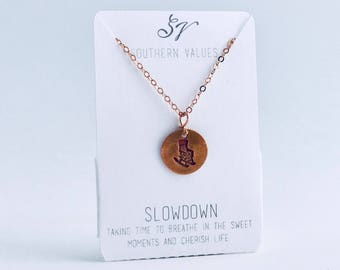 Southern Values Slowdown Necklace / Copper / Charm Necklace