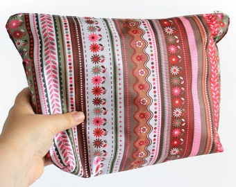 XL Make-up bag, pouch, pencil case, clutch made from pink and brown vinyl - Water resistant Japanese fabric