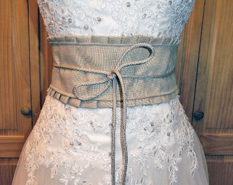 Country chic Soft Burlap Corset Belt- CRBoggs Designs-Bridal Belt-Bridesmaids-Country Girl