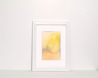 Small Abstract Painting - Yellow, gold, orange,  grey abstract landscape with watercolor, original painting 3x5