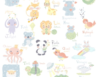 Adorable Animal Alphapet Poster Illustration, Nursery Art, Alphabet Print