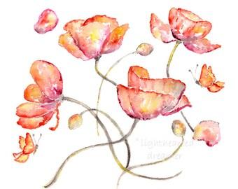 Colorful, Watercolor Print, Poppy Print,  Flower Watercolor, Office Art, Flower Painting, red, garnet, orange, magenta, yellow