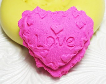 LOVE Cookie HEART Mold Valentine Flexible Silicone Rubber Push Mold for FIMO Pmc Resin Wax Fondant Clay Ice
